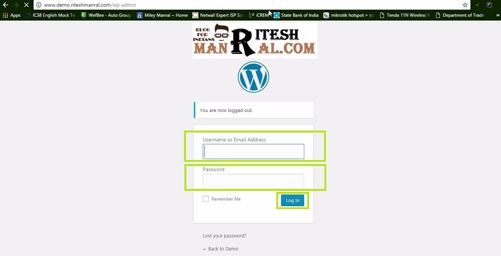 wordpress लॉग इन url PATH